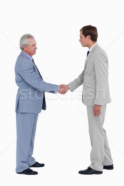 Zijaanzicht groet witte business hand zakenman Stockfoto © wavebreak_media