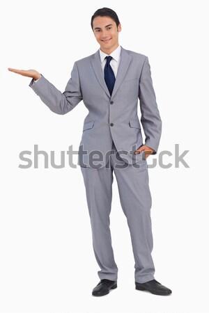 Lächelnd Mann Anzug Hand weiß Stock foto © wavebreak_media