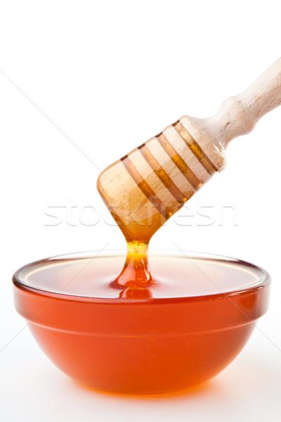 Méz felső tál fehér háttér édes Stock fotó © wavebreak_media