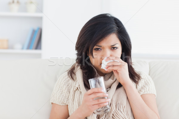 Сток-фото: больным · женщину · сморкании · стекла · воды
