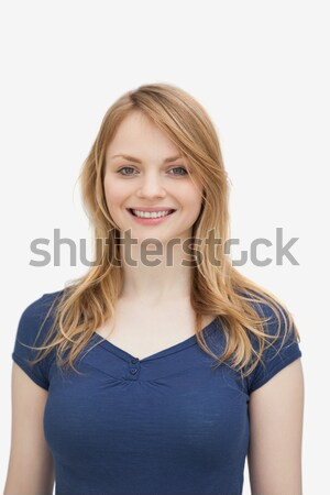 Vrouw glimlachen witte gelukkig achtergrond Stockfoto © wavebreak_media