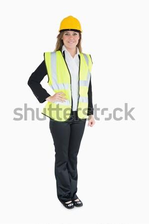 Mujer traje alto visibilidad chaleco Foto stock © wavebreak_media
