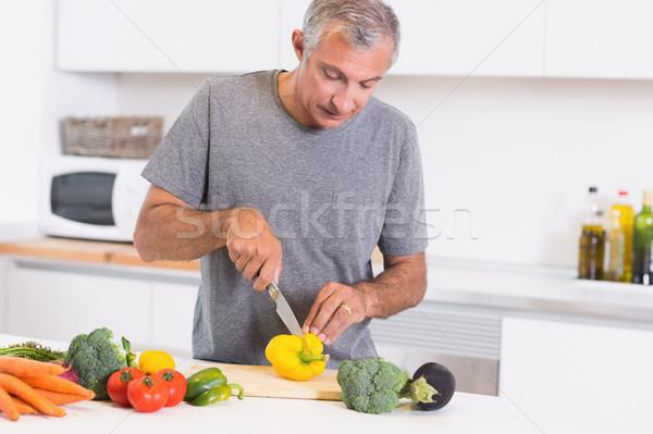 Man cutting pepper Stock photo © wavebreak_media