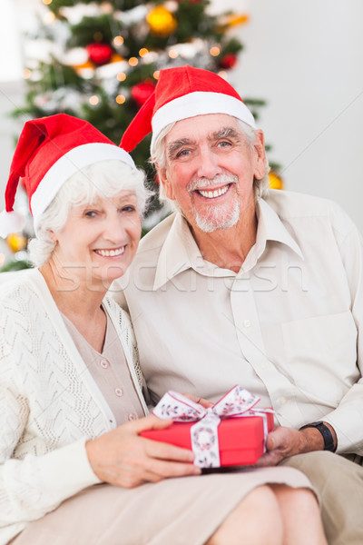 Smiling old couple swapping christmas gifts Stock photo © wavebreak_media