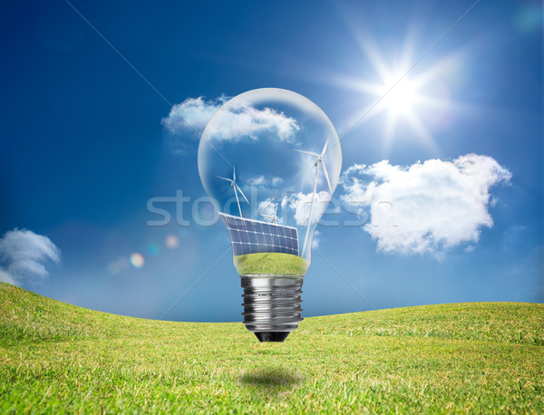 Light bulb showing solar panels and turbines in a field Stock photo © wavebreak_media