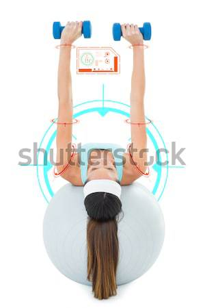 Composite image of side view of a fit woman stretching on fitnes Stock photo © wavebreak_media
