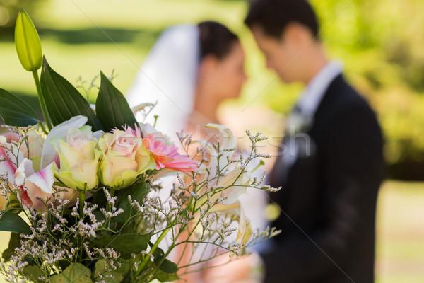 Stockfoto: Boeket · wazig · newlywed · paar · park