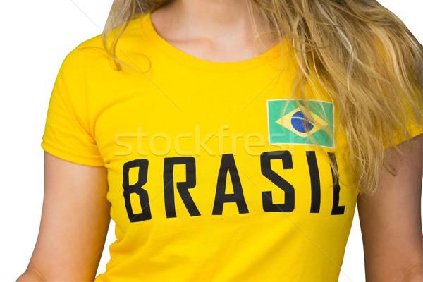 Futebol ventilador brasil tshirt branco futebol Foto stock © wavebreak_media