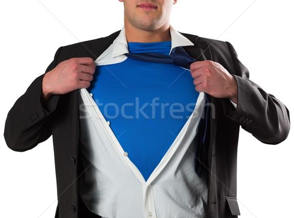 Biznesmen otwarcie shirt superhero stylu biały Zdjęcia stock © wavebreak_media