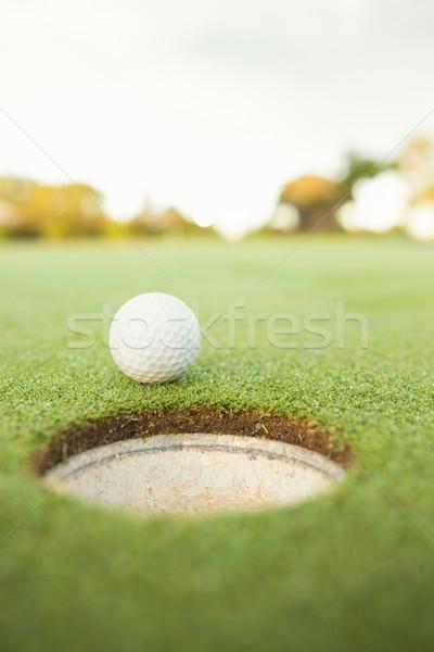 Golflabda perem lyuk napos idő golfpálya sport Stock fotó © wavebreak_media