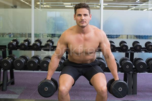 Shirtless determined bodybuilder lifting heavy black dumbbells  Stock photo © wavebreak_media