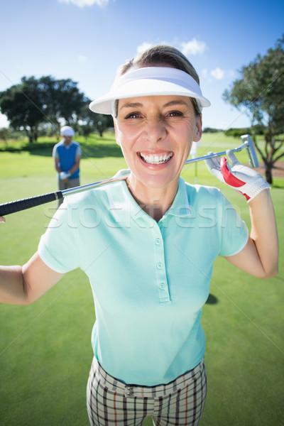 Сток-фото: Lady · гольфист · улыбаясь · камеры · партнера