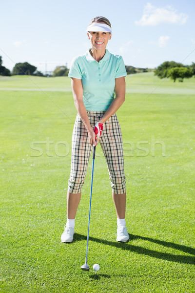 Lady гольфист день улыбаясь камеры Сток-фото © wavebreak_media
