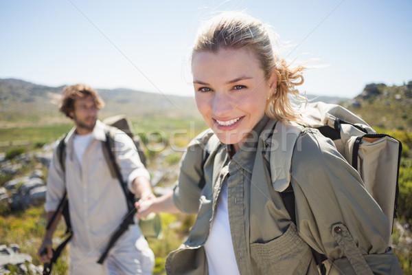 походов пару Постоянный горные местность женщина улыбается Сток-фото © wavebreak_media