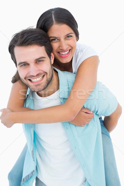 Boldog lezser férfi csinos barátnő malac Stock fotó © wavebreak_media