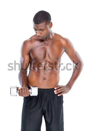 6cc86e32f9 Póló nélkül izmos férfi fehér törölköző szexi Stock fotó © wavebreak_media