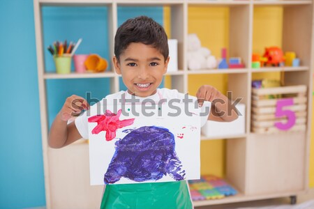 Cute little boys showing fathers day painting Stock photo © wavebreak_media
