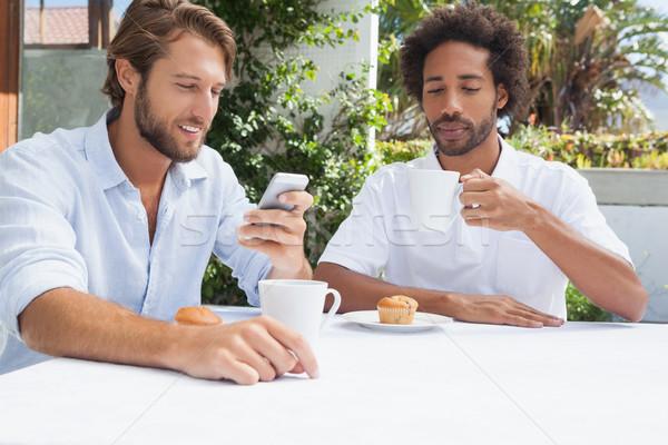 Foto stock: Dois · amigos · café · juntos · fora