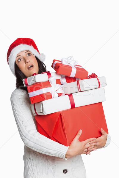 Geschokt vrouw christmas presenteert witte Rood Stockfoto © wavebreak_media