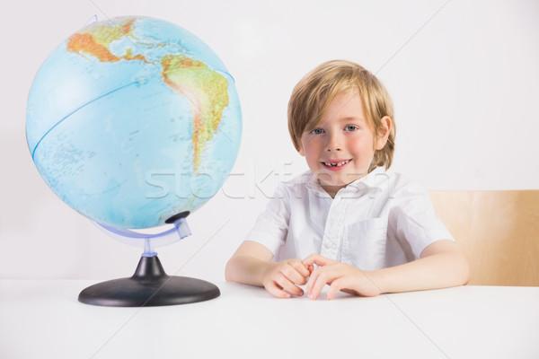 Сток-фото: студент · обучения · география · мира · белый · бумаги