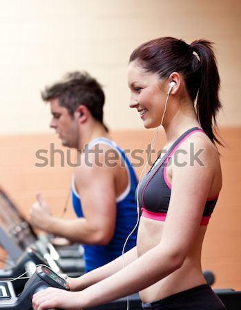 Personal trainer cliënt glimlachend ander gymnasium water Stockfoto © wavebreak_media