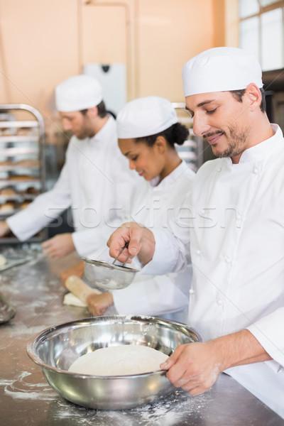 Team werken counter keuken bakkerij business Stockfoto © wavebreak_media