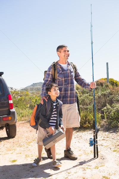 отцом сына рыбалки поездку человека счастливым Сток-фото © wavebreak_media
