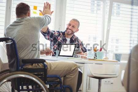 Gericht zakenman rolstoel werken bureau kantoor Stockfoto © wavebreak_media