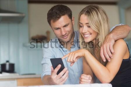 Cute пару домой гостиной женщину Сток-фото © wavebreak_media