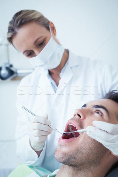 Foto stock: Feminino · dentista · dentes · dentistas · cadeira