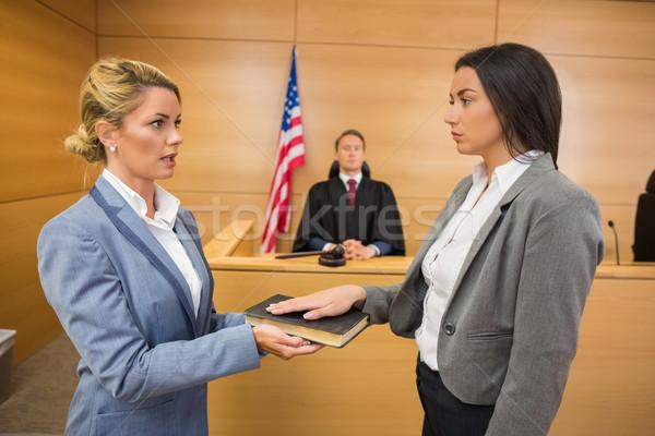Witness taking an oath Stock photo © wavebreak_media