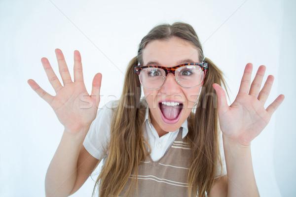 女性 ヒップスター 笑みを浮かべて カメラ 白 幸せ ストックフォト © wavebreak_media