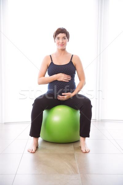 Stock fotó: Terhes · nő · forma · otthon · ház · fitnessz · terhes