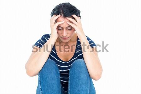 Unhappy woman sitting on the floor Stock photo © wavebreak_media