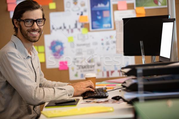 Portre işadamı çalışma ofis büro bilgisayar Stok fotoğraf © wavebreak_media