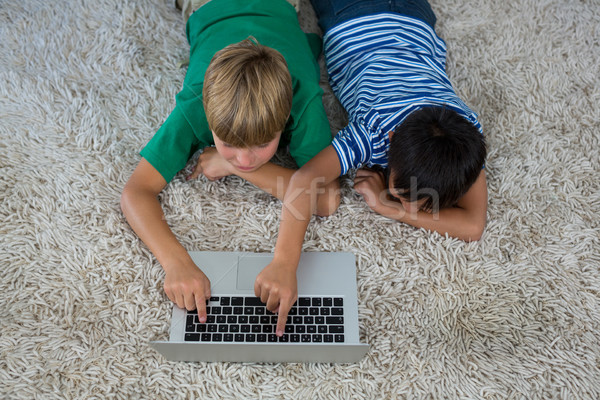 Tapis utilisant un ordinateur portable salon maison ordinateur Photo stock © wavebreak_media