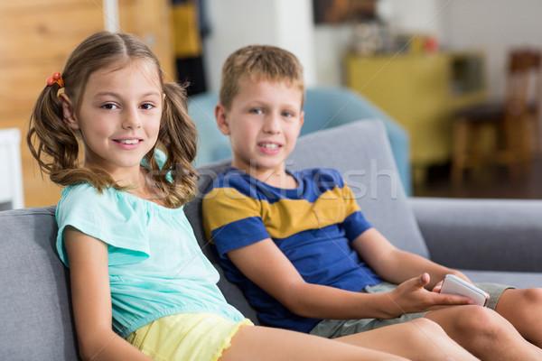 Smiling siblings sitting together on sofa in living room Stock photo © wavebreak_media