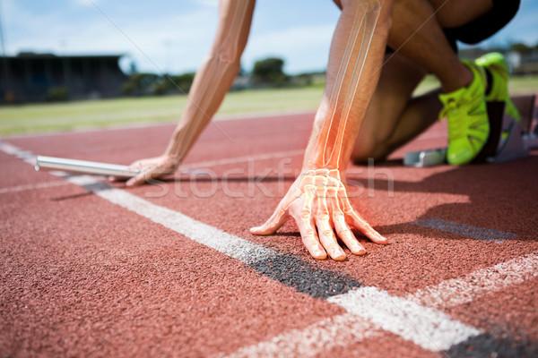 Kemikleri adam yarış dijital bileşik grafik koşucu Stok fotoğraf © wavebreak_media