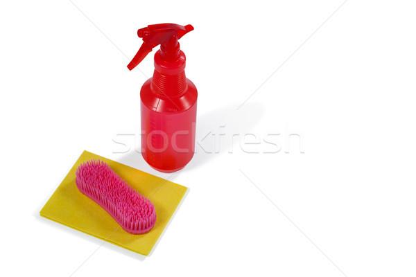 Cleaning spray bottle, sponge and brush Stock photo © wavebreak_media