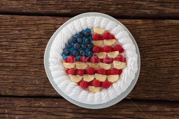 フルーツケーキ 木製のテーブル 青 フラグ バナナ ストックフォト © wavebreak_media