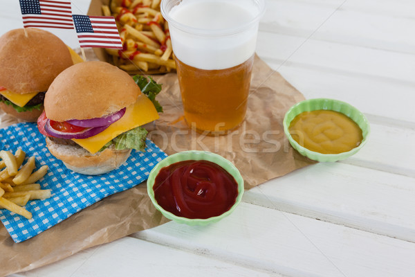Drink and snacks decorated with 4th july theme Stock photo © wavebreak_media