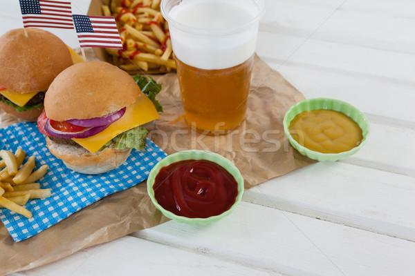 ドリンク スナック 装飾された 木製のテーブル 食品 ストックフォト © wavebreak_media