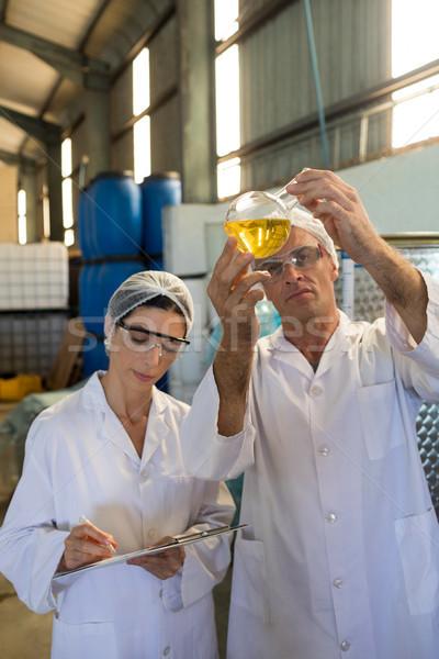 Onderzoeken olijfolie fabriek man schrijven werken Stockfoto © wavebreak_media
