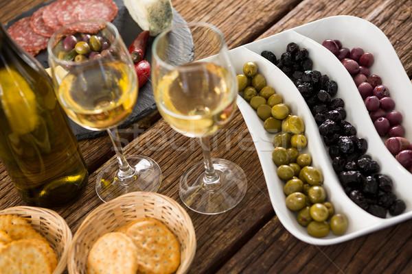 Marynowane oliwek butelki wina żywności Zdjęcia stock © wavebreak_media