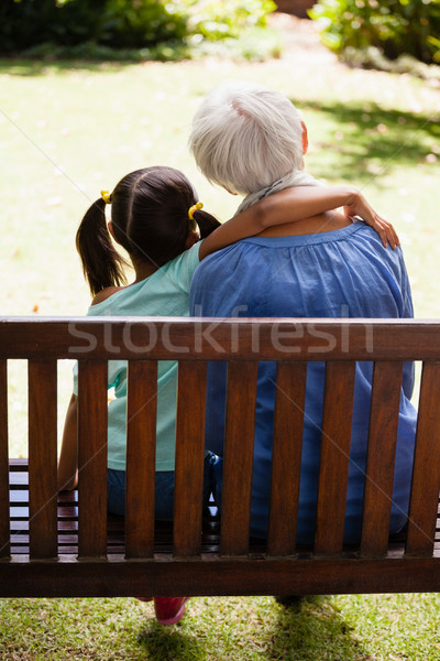 Rear view of girl with arm around grandmother sitting on wooden bench Stock photo © wavebreak_media