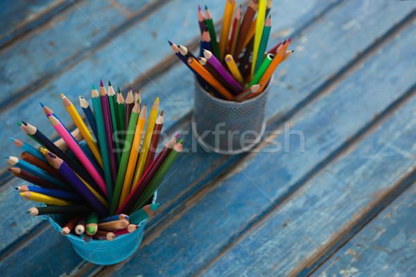 Color pencils arranged in pencil holder Stock photo © wavebreak_media