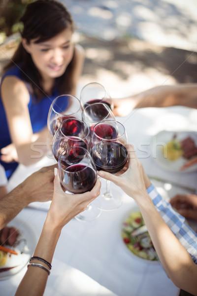 Grupy znajomych szampana okulary restauracji Zdjęcia stock © wavebreak_media