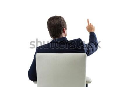 üzletember néz láthatatlan virtuális képernyő fehér Stock fotó © wavebreak_media