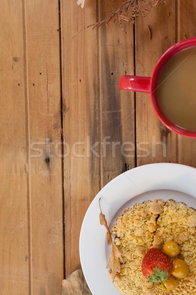 Frühstück Platte Kaffeebecher Tabelle Holz Kaffee Stock foto © wavebreak_media