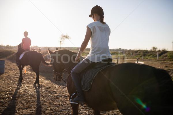 Vrouwelijke paardrijden paard schuur vrouw natuur Stockfoto © wavebreak_media